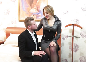 Slutty courtesan in stockings fucked by handsome guy