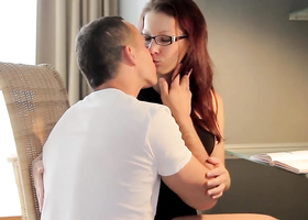 Lady with glasses spends sensual time with her man