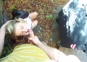 Pickup master prevails upon blonde to fuck outdoors