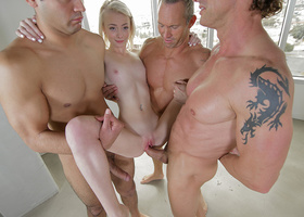 Doll is fucked by group of men for the first time