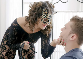 Naughty pussycat in leopard mask wants to be petted