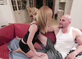 Blonde comes to friend's house for some fuck