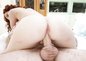 Curly-haired redhead fucked for stealing goods