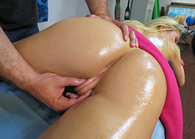 Extra services were provided for blonde girl by masseur
