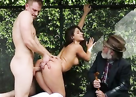 Curvy chick fucked in doggystyle by guy with big thing