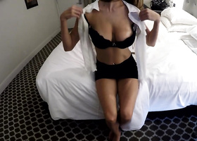 Stunner with natural boobs gets poked in hotel room