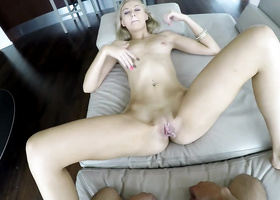 Blonde shorty gets shaved twat bonked by cameraguy