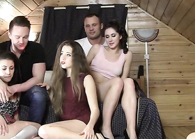 Amateur girls and guys fuck in country house