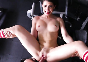 Brunette chick fucked by guard in the gym
