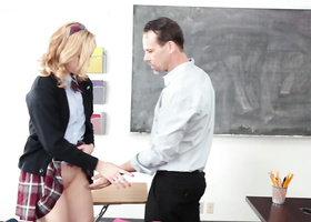 Babe has sex with teacher to make him keep mouth shut