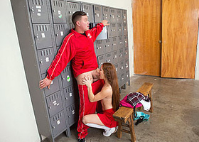 Coach fucked awesome schoolgirl in the locker room