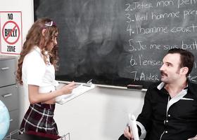 French teacher sprays cum on student's pretty face