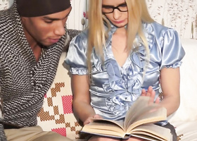 Dark-skinned guy asks blonde to teach him economics