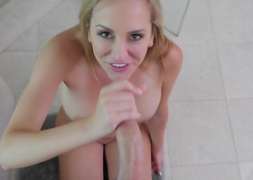 Top rated bathroom POV porn with a gorgeous milf