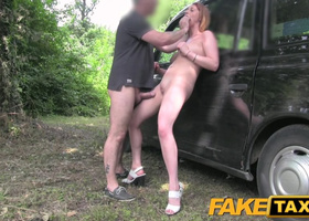 Chesty redhead got facialized by taxi driver