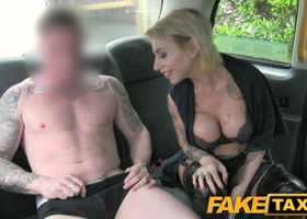 Cabby was interested in blonde's tattoos and pussy as well
