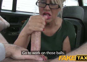Taxi driver creampies busty blonde's lustful vagina
