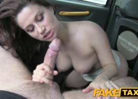 Awesome anal scene of curvy brunette and taxi driver