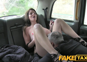 Perv driver has fun with busty customer in the back