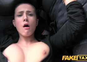 Hot brunette seduces taxi driver to take her to meeting