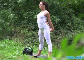 PublicAgent Brunette babe gets fucked outdoor