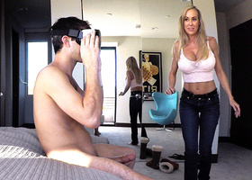 Stepmom plays with gamer stepson's joystick