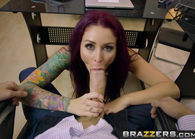 Purple haired young slut drops to her knees to suck a cock