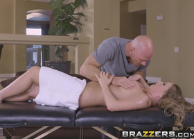 Curvaceous blonde getting boned by a bald masseur