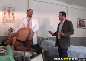 Fishnet clad European beauty fucks a hung doctor