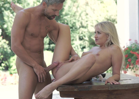 Cleanly shaved blonde fucked by a huge white dick