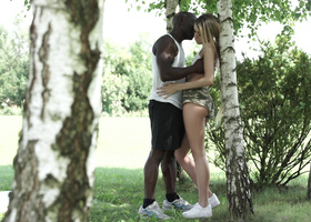 Forrest facefuck for a blonde and a muscular black guy