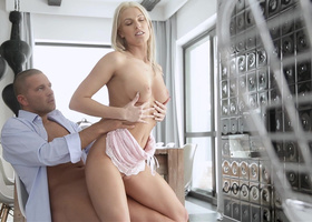 Passionate blonde riding a handsome horny man