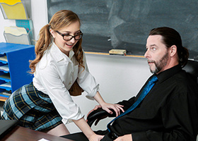 Student with glasses gets her pussy fucked on the desk
