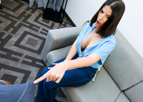 Dark haired MILF gets the sticky cum of her stepson