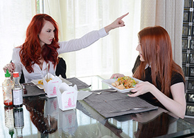 Two redheaded whores are eating out each other