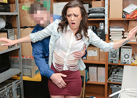 Brunette chick is groped by the security officer