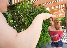 Tiny redhead banged during an outdoor workout