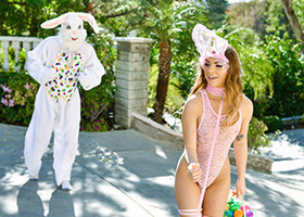 Leashed teen in a bunny costume fucks a TERRIFYING rabbit
